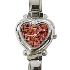 Blue and orange decorative pattern Heart Italian Charm Watch