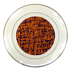 Blue and orange decorative pattern Porcelain Plates