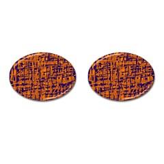 Blue and orange decorative pattern Cufflinks (Oval)