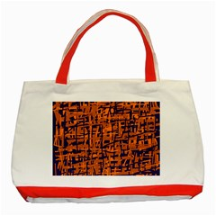 Blue and orange decorative pattern Classic Tote Bag (Red)