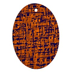 Blue and orange decorative pattern Oval Ornament (Two Sides)