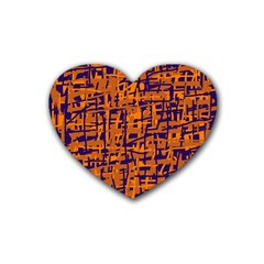 Blue and orange decorative pattern Heart Coaster (4 pack)