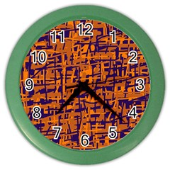 Blue and orange decorative pattern Color Wall Clocks