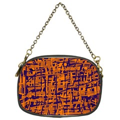 Blue and orange decorative pattern Chain Purses (One Side)