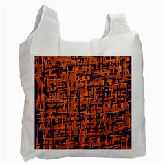 Blue and orange decorative pattern Recycle Bag (Two Side)