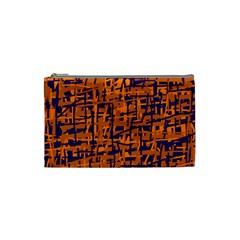 Blue and orange decorative pattern Cosmetic Bag (Small)