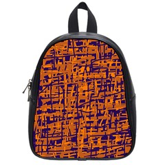 Blue and orange decorative pattern School Bags (Small)
