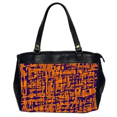 Blue and orange decorative pattern Office Handbags (2 Sides)