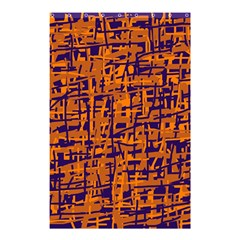 Blue and orange decorative pattern Shower Curtain 48  x 72  (Small)