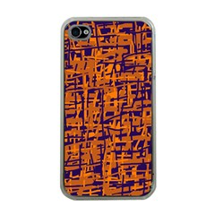 Blue and orange decorative pattern Apple iPhone 4 Case (Clear)