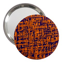 Blue and orange decorative pattern 3  Handbag Mirrors