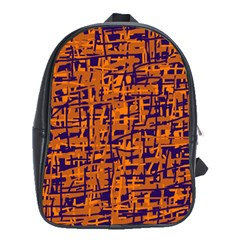 Blue and orange decorative pattern School Bags (XL)