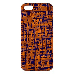 Blue and orange decorative pattern iPhone 5S/ SE Premium Hardshell Case