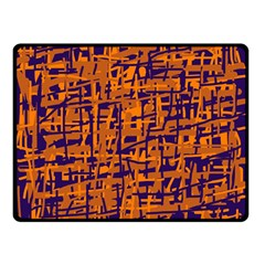 Blue and orange decorative pattern Double Sided Fleece Blanket (Small)