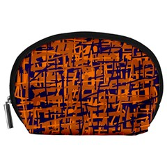 Blue and orange decorative pattern Accessory Pouches (Large)