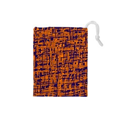 Blue and orange decorative pattern Drawstring Pouches (Small)