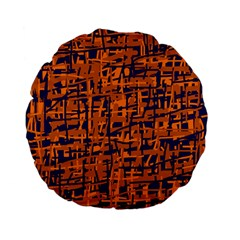 Blue and orange decorative pattern Standard 15  Premium Flano Round Cushions
