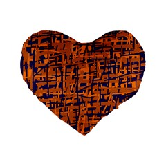 Blue and orange decorative pattern Standard 16  Premium Flano Heart Shape Cushions
