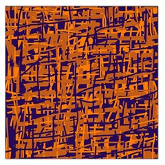 Blue and orange decorative pattern Large Satin Scarf (Square)