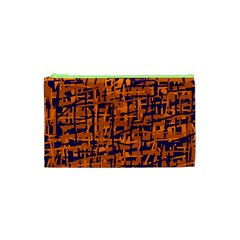 Blue and orange decorative pattern Cosmetic Bag (XS)