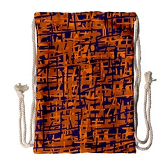 Blue and orange decorative pattern Drawstring Bag (Large)