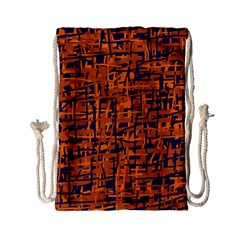 Blue and orange decorative pattern Drawstring Bag (Small)