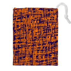 Blue and orange decorative pattern Drawstring Pouches (XXL)