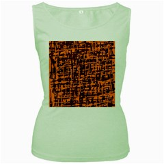 Orange and blue pattern Women s Green Tank Top
