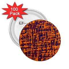 Orange and blue pattern 2.25  Buttons (100 pack)