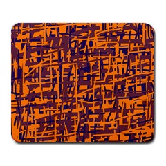 Orange and blue pattern Large Mousepads