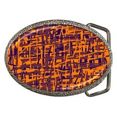 Orange and blue pattern Belt Buckles