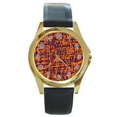 Orange and blue pattern Round Gold Metal Watch