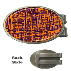 Orange and blue pattern Money Clips (Oval)