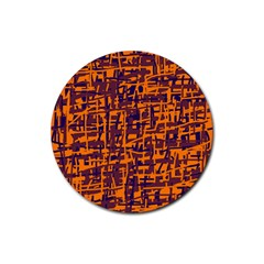 Orange and blue pattern Rubber Round Coaster (4 pack)