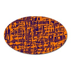 Orange and blue pattern Oval Magnet