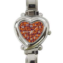 Orange and blue pattern Heart Italian Charm Watch