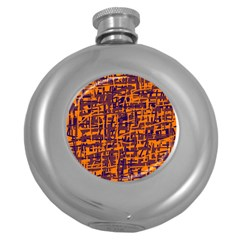 Orange and blue pattern Round Hip Flask (5 oz)