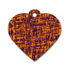 Orange and blue pattern Dog Tag Heart (One Side)