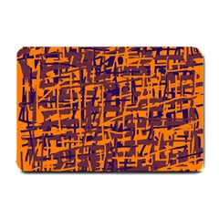 Orange and blue pattern Small Doormat