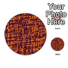 Orange and blue pattern Multi-purpose Cards (Round)
