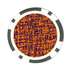 Orange and blue pattern Poker Chip Card Guards (10 pack)