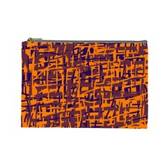 Orange and blue pattern Cosmetic Bag (Large)