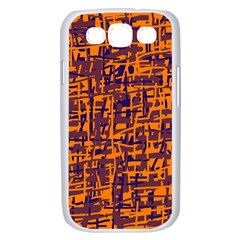 Orange and blue pattern Samsung Galaxy S III Case (White)