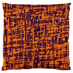 Orange and blue pattern Large Cushion Case (One Side)
