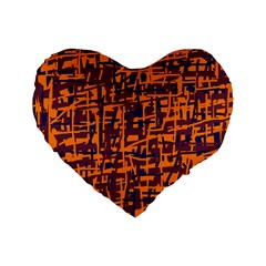 Orange and blue pattern Standard 16  Premium Heart Shape Cushions