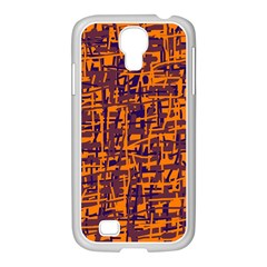 Orange and blue pattern Samsung GALAXY S4 I9500/ I9505 Case (White)