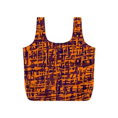 Orange and blue pattern Full Print Recycle Bags (S)