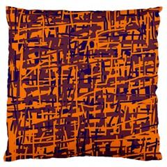 Orange and blue pattern Large Flano Cushion Case (One Side)