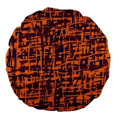Orange and blue pattern Large 18  Premium Flano Round Cushions