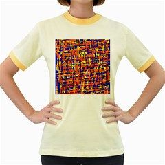 Orange, blue and yellow pattern Women s Fitted Ringer T-Shirts